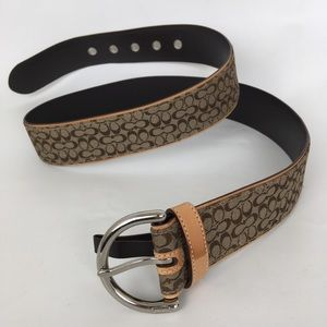 Coach Signature Leather And Canvas Belt